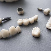 Dental crown and bridge restorations on table top